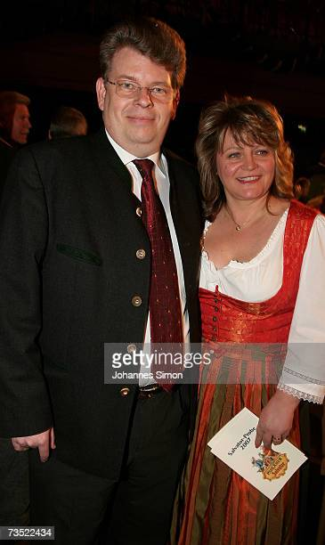 Stefan Schoerghuber and his wife Alexandra attend the Nockherberg beer hall as strong beer season kicks off on Munich's Nockherberg on March 8 in...