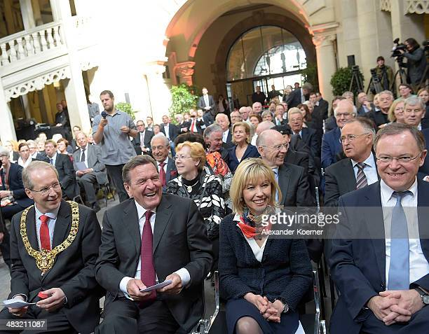 Stefan Schostock mayor of the town of Hanover former German Chancellor Gerhard Schroeder Doris SchroederKopef and the Prime Minister of the State of...