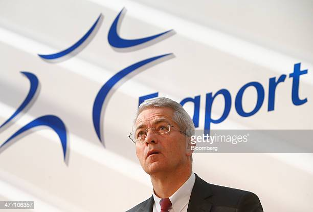 Stefan Schulte chief executive officer of Fraport AG the operator of Frankfurt Airport reacts as Fraport announce their results at the company's...