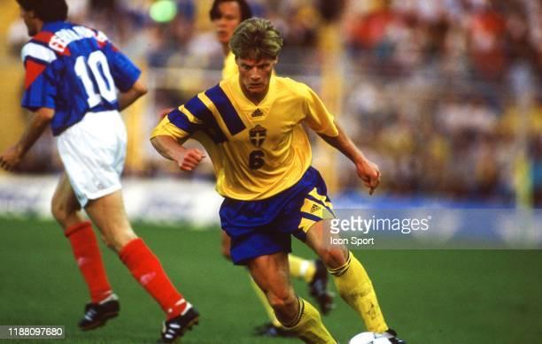 Stefan Schwarz of Sweden during the European Championship match between Sweden and France at Rasunda Stadium, Solna, Sweden on 10 June 1992