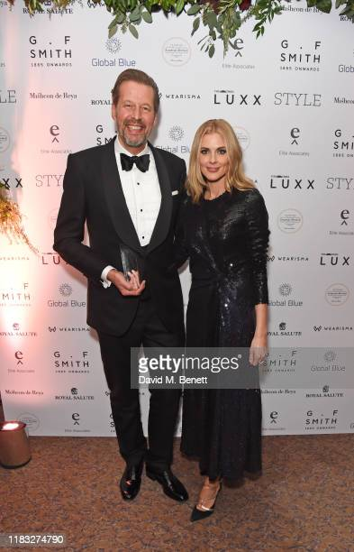 Stefan Sielaff accepting the Luxury Maker of the Year award on behalf of Bentley and Donna Air attend the Walpole British Luxury Awards 2019 at The...