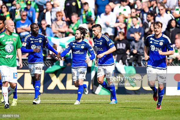 Stefan Silva of GIF Sundsvall scores the opening goal to GIF Sundsvall during the allsvenskan match between Jonkopings Sodra IF and GIF Sundsvall at...