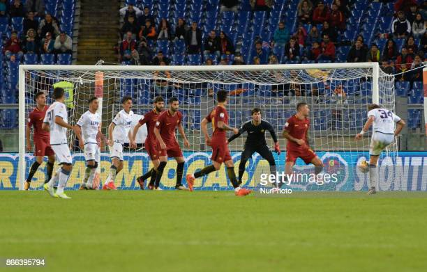 Stefan Simic missed goal during the Italian Serie A football match between AS Roma and FC Crotone at the Olympic Stadium in Rome on october 25 2017