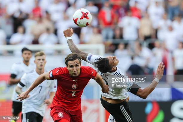 Stefan Simic of Czech Republic and Davie Selke of Germany battle for the ball during the UEFA European Under21 Championship Group C match between...
