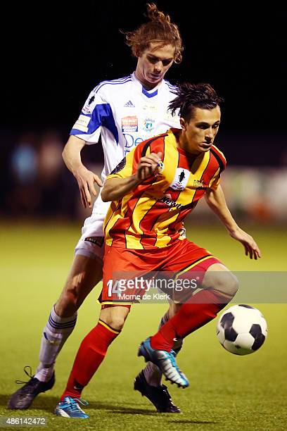 Stefan Simic of MetroStars wins the ball during the FFA Cup Round of 16 match between MetroStars and Oakleigh Cannons at Elite Systems Football...