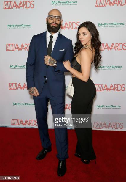 Stefan Smith and adult film actress Whitney Wright attend the 2018 Adult Video News Awards at the Hard Rock Hotel Casino on January 27 2018 in Las...