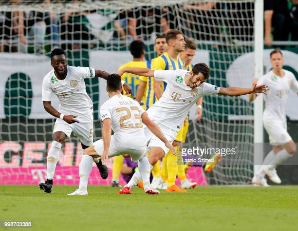 Stefan Spirovski of Ferencvarosi TC celebrates his goal with Lukacs Bole of Ferencvarosi TC and Abraham Frimpong of Ferencvarosi TC during the UEFA...