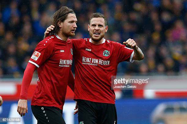 Stefan Strandberg and Marvin Bakalorz of Hannover celebration after the Goal 22 during the Second Bundesliga match between Eintracht Braunschweig and...