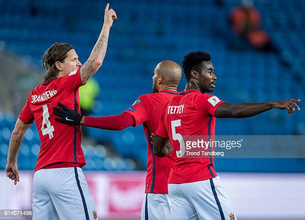 Stefan Strandberg Haitam Aleesami Alexander Tettey of Norway during the FIFA 2018 World Cup Qualifier between Norway and San Marino at Ullevaal...