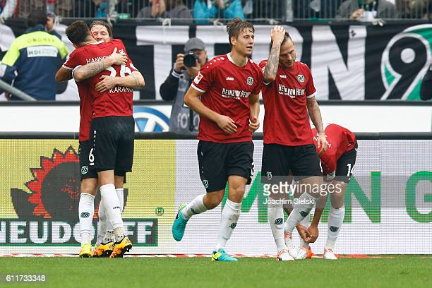 Stefan Strandberg Kenan Karaman Valdemar Anton and Marvin Bakalorz of Hannover celebrate the goal that put Hannover 1 0 up during the Second...