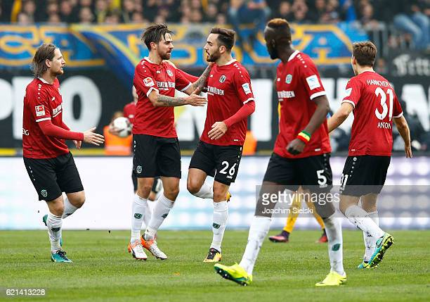 Stefan Strandberg Martin Harnik Kenan Karaman Salif Sane Valdemar Anton of Hannover celebration the Goal 12 during the Second Bundesliga match...