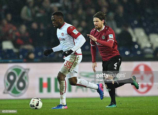 Stefan Strandberg of Hannover challenges Osayamen Osawe of Kaiserslautern during the Second Bundesliga match between Hannover 96 and 1 FC...