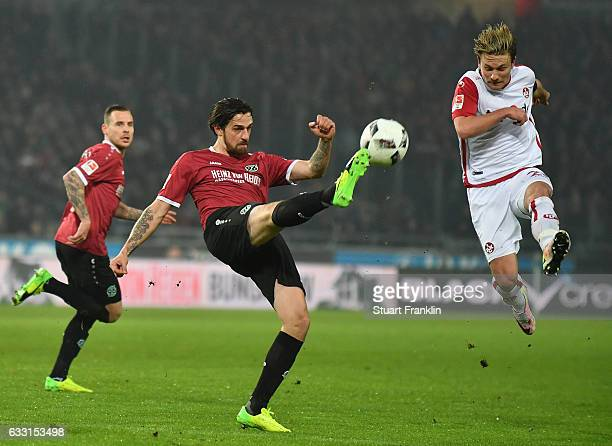 Stefan Strandberg of Hannover is challenged by Daniel Halfar of Kaiserslautern during the Second Bundesliga match between Hannover 96 and 1 FC...