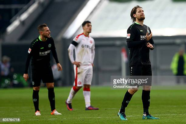 Stefan Strandberg of Hannover looks dejected after the Second Bundesliga match between Fortuna Duesseldorf and Hannover 96 at EspritArena on November...