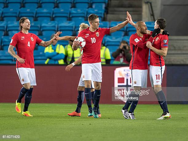 Stefan Strandberg Per Ciljan Skjelbred Markus Henriksen Haitam Aleesami Ole Kristian Selnaes of Norway celebrate goal during the FIFA 2018 World Cup...