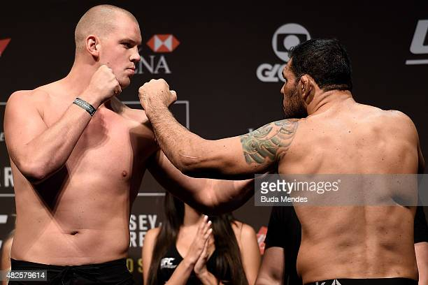 Stefan Struve of the Netherlands and Antonio Rodrigo Nogueira of Brazil face off during the UFC 190 Rousey v Correia weigh-in at HSBC Arena on July...