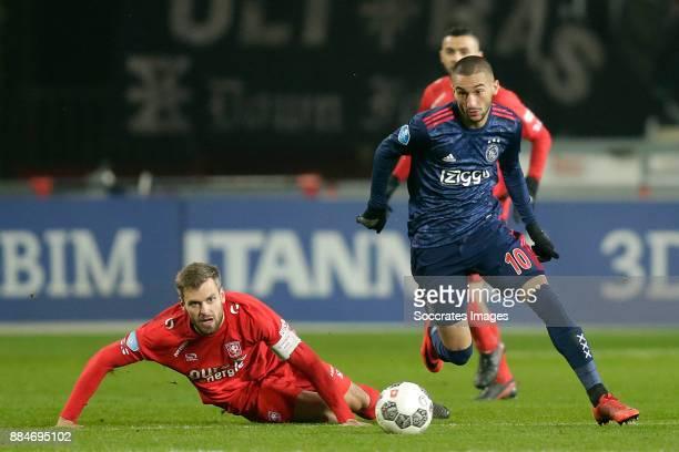 Stefan Thesker of FC Twente Hakim Ziyech of Ajax during the Dutch Eredivisie match between Fc Twente v Ajax at the De Grolsch Veste on December 2...