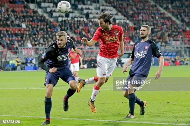 Stefan Thesker of FC Twente Joris van Overeem of AZ Alkmaar during the Dutch Eredivisie match between AZ Alkmaar v Fc Twente at the AFAS Stadium on...