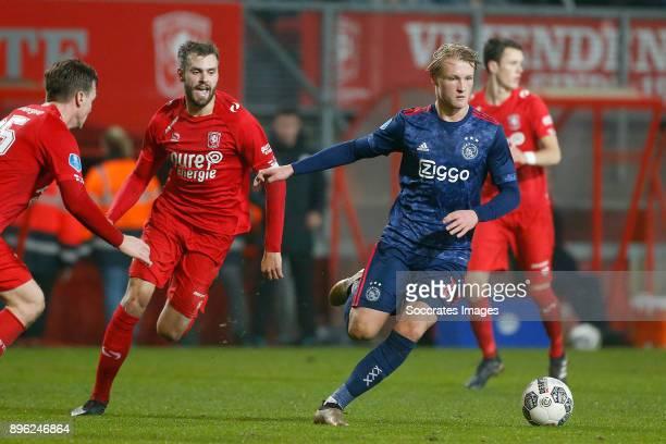 Stefan Thesker of FC Twente Kasper Dolberg of Ajax during the Dutch KNVB Beker match between Fc Twente v Ajax at the De Grolsch Veste on December 20...