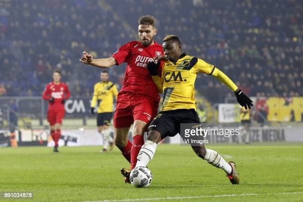 Stefan Thesker of FC Twente Thierry Ambrose of NAC Breda during the Dutch Eredivisie match between NAC Breda and FC Twente Enschede at the Rat...