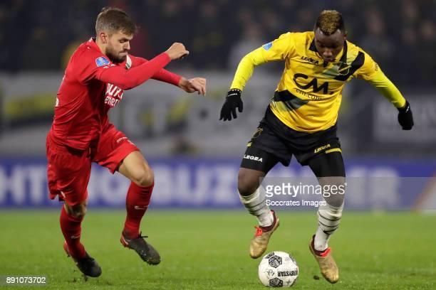 Stefan Thesker of FC Twente Thierry Ambrose of NAC Breda during the Dutch Eredivisie match between NAC Breda v Fc Twente at the Rat Verlegh Stadium...