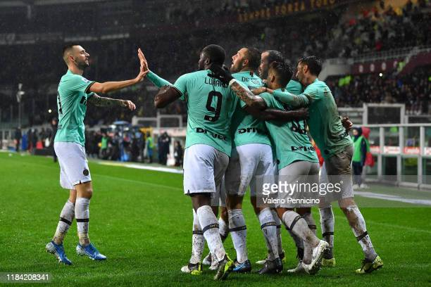 Stefan Vrij of FC Internazionale celebrates a goal with team mates during the Serie A match between Torino FC and FC Internazionale at Stadio...