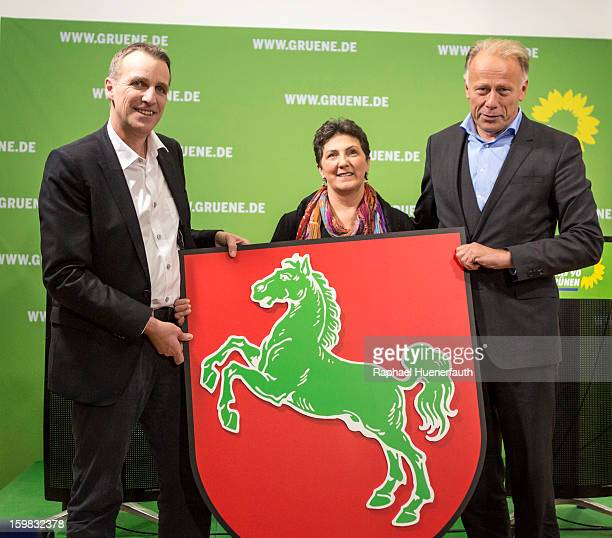 Stefan Wenzel candidate in Lower Saxony for the German Greens Anja Piel member of the Greens in Lower Saxony and Juergen Trittin leader Greens...