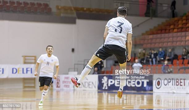 Stefan Winkel of Germany celebrates the second goal for his team during the UEFA Futsal European Championship Qualifying match between Armenia and...