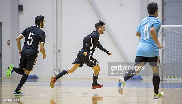 Stefan Winkel of Germany celebrates the third goal for his team during the UEFA Futsal European Championship Qualifying match between Latvia and...