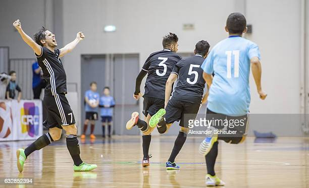 Stefan Winkel of Germany celebrates the third goal for his team with Timo Di Giorgio of Germany during the UEFA Futsal European Championship...
