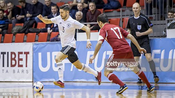 Stefan Winkel of Germany challenges Andranik Karapetyan of Armenia during the UEFA Futsal European Championship Qualifying match between Armenia and...