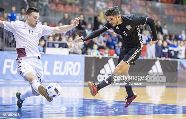 Stefan Winkel of Germany in action during the UEFA Futsal European Championship Qualifying match between Latvia and Germany at Zemgales Olimpiskais...