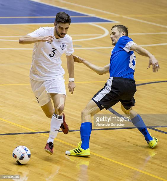 Stefan Winkel of Germany in action during the UEFA Futsal European Championship Qualifying match between Estonia and Germany at on January 29 2017 in...