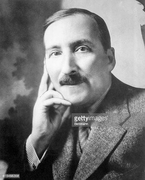 Stefan Zweig Austrian writer Head and shoulders portrait of Zweig with his hand on his face