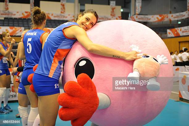 Stefana Veljkovic of Serbia looks on after the match between Cuba and Serbia during the FIVB Women's Volleyball World Cup Japan 2015 at Park Arena...