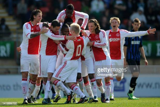 Stefane Denswil of Ajax celebrates with team mates after scoring their first goal during the NextGen Series Final between Ajax U19 and Inter Milan...