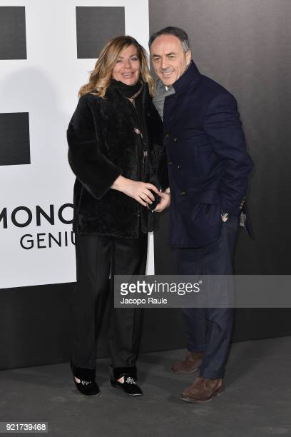 Stefania Alessandri and Nerio Alessandri are seen at the Moncler Genius event during Milan Fashion Week Fall/Winter 2018/19 on February 20 2018 in...