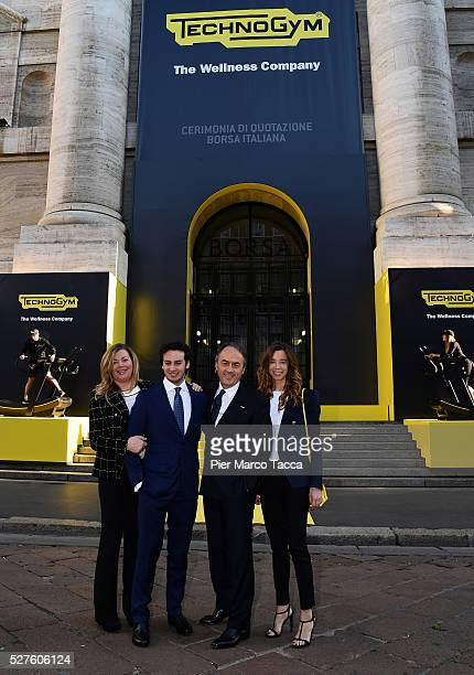 Stefania Alessandri Edoardo Alessandri President and founder of Technogym Nerio Alessandri and Erica Alessandri attend the Technogym Listing Ceremony...