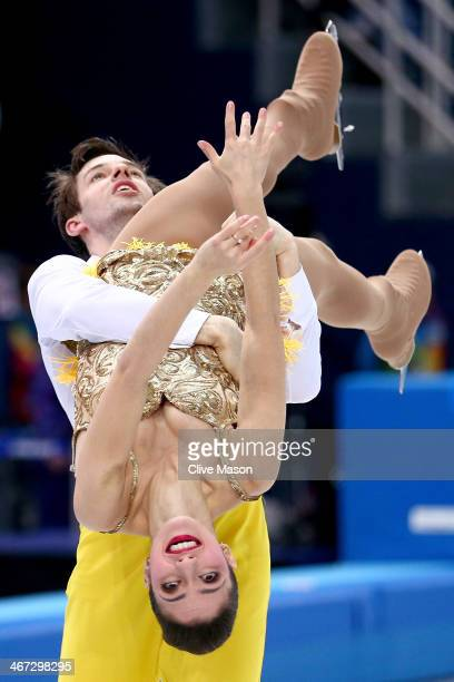 Stefania Berton and Ondrej Hotarek of Italy compete in the Figure Skating Pairs Short Program during the Sochi 2014 Winter Olympics at Iceberg...