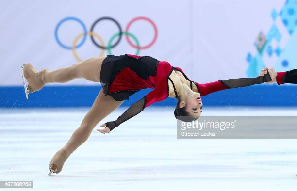 Stefania Berton and Ondrej Hotarek of Italy compete in the Figure Skating Team Pairs Free Skating during day one of the Sochi 2014 Winter Olympics at...