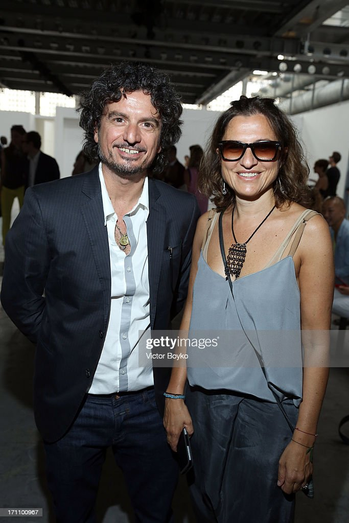Stefania Capasa of Costume National and Director of Inter Campus - F.C. Internazionale Aldo Montinaro attend the Costume National Homme show during Milan Menswear Fashion Week Spring Summer 2014 on June 22, 2013 in Milan, Italy.