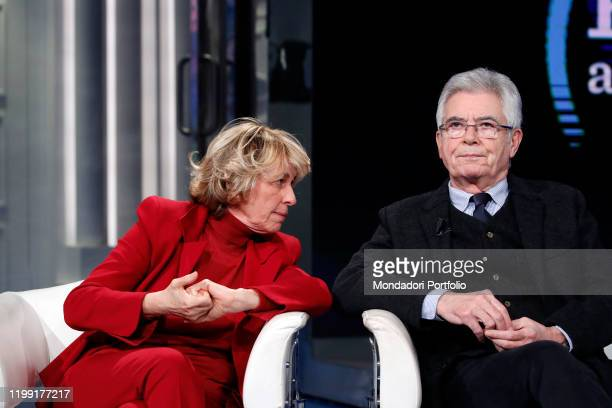 Stefania Craxi and italian politican Claudio Martelli during tv broadcast Porta a Porta Rome January 9th 2020