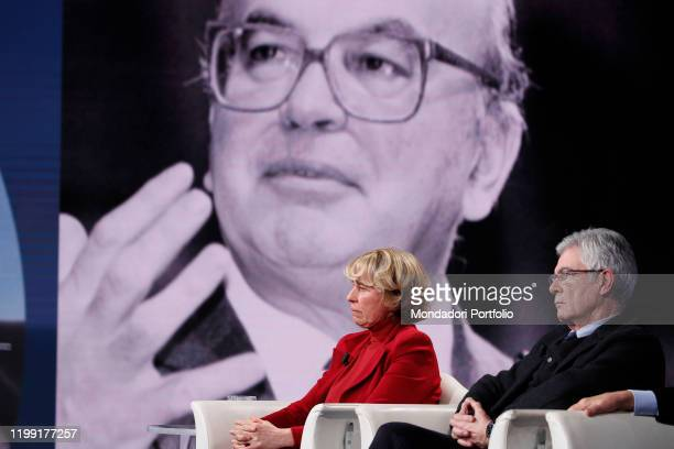 Stefania Craxi and italian politician Claudio Martelli during tv broadcast Porta a Porta On background a closeup of Bettino Craxi Rome January 9th...