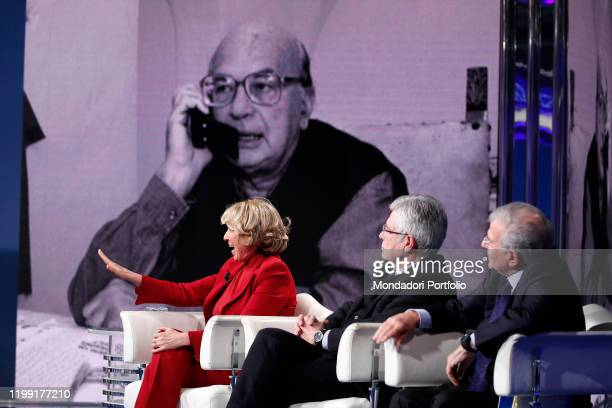 Stefania Craxi with italian politicians Claudio Martelli and Fabrizio Cicchitto during tv broadcast Porta a Porta On background a closeup of Bettino...