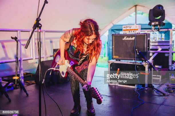 Stefania F. Cardenas of Madonnatron performs on the Rising stage during day 4 at Green Man Festival at Brecon Beacons on August 20, 2017 in Brecon,...