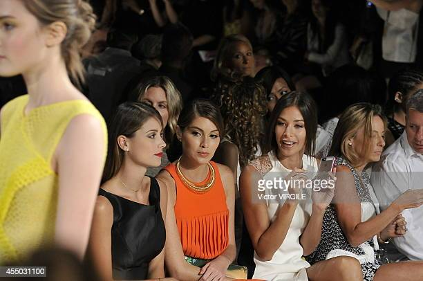 Stefania Fernandez Gabriela Isler and Dayana Mendoza at the Angel Sanchez fashion show during MercedesBenz Fashion Week Spring 2015 at The Pavilion...