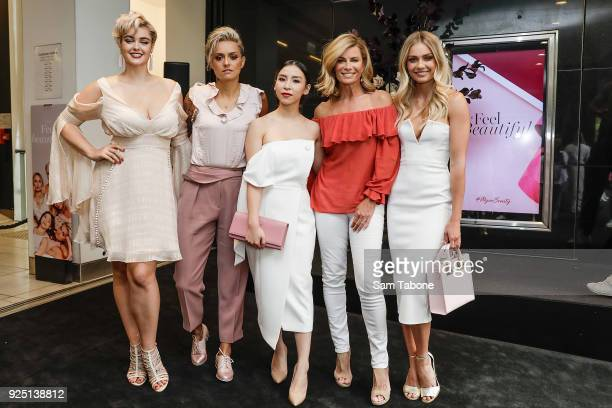 Stefania Ferrario Moana Hope Tina Yong Deborah Hutton and Elyse Knowles attends the Myer Beauty Campaign Launch Beauty Brunch on February 28 2018 in...