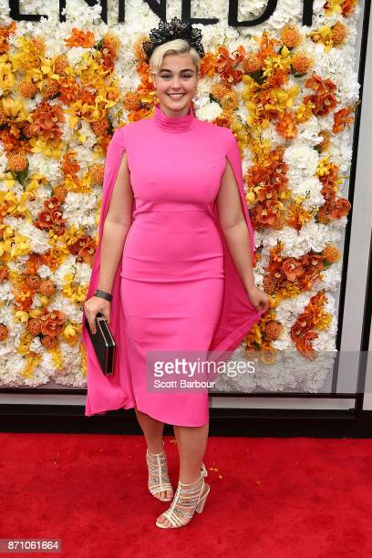 Stefania Ferrario poses at the Kennedy Marquee on Melbourne Cup Day at Flemington Racecourse on November 7 2017 in Melbourne Australia