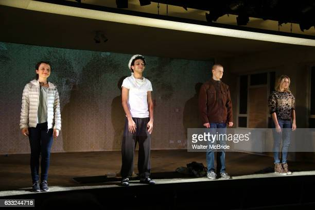 Stefania LaVie Owen Justice Smith Lucas Hedges and Ari Graynor during the 'Yen' Opening Night Curtain Call bows at the Lortel Theatre on January 31...