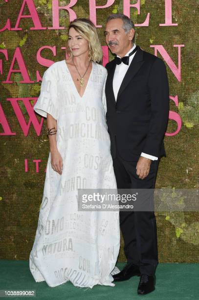 Stefania Rocca and Carlo Capasa attend the Green Carpet Fashion Awards at Teatro Alla Scala on September 23 2018 in Milan Italy